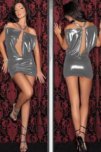 Silver Shimmer Shoulderless Ring Dress