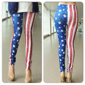 Sexy Red White Blue US American Flag  Pants Leggings