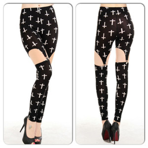 Sexy Black White Cross Stretch Ripped Cut Out Leggings Pants