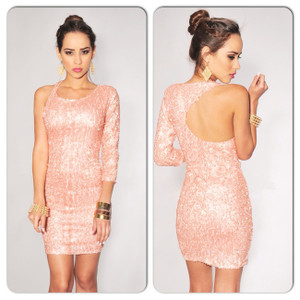 Sexy Little Pink Sparkly Sequin Open Back Mini Dress