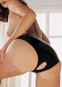 Sexy Black Crotchless Key Hole Panty