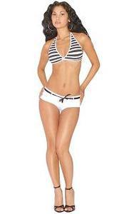 Knitted Striped Bikini Set