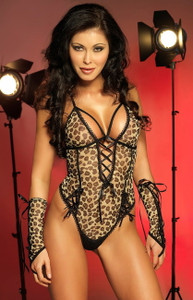 Sexy Lingerie Black Leopard Tie Up Teddy