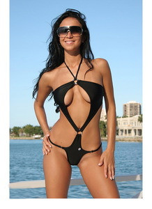 Sexy Black Tie Up Halter Top Swimsuit Swimwear One Piece Bikini