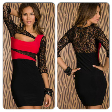 Black and red lace mini dress
