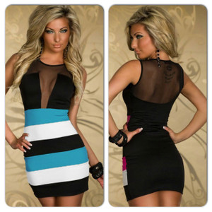 Sexy Black Blue Open Back Lace Mesh Color Block Bodycon Mini Dress