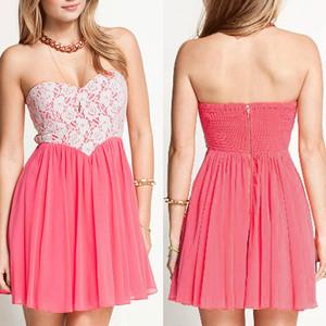 PInk Peach Heart Lace High Waist Dress
