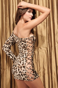Sexy Black Leopard Animal Print Criss Cross Bodycon One Sleeve Club Party Dress