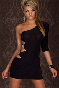 Sexy Black One Shoulder Cutout Ruched Side Club Dress