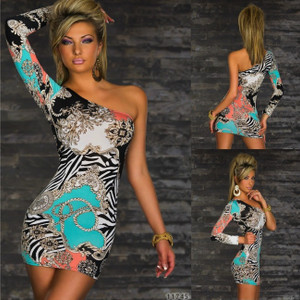 Sexy Multi-Color Chain Bodycon One Sleeve Club Party Dress