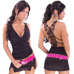 Sexy Black Lace Back Cut Out Back Ruched Plunging V Neck Halter Club Top Shirt