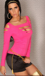Sexy Pink Ripped Cut Out Slashed Long Sleeve Top Shirt