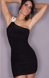 Sexy Black One Shoulder Rhinestone Buckle Ruched Clubwear Party Dress