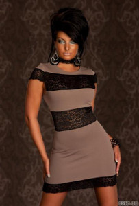 SEXY Taupe Black Lace Color Block Mini Dress Party Dancer Clubwear