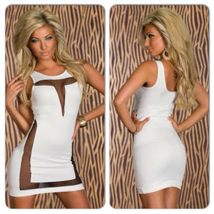 Sexy White Black Mesh Lace Cut Out Mini Bodycon Dress