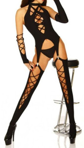 SEXY DOMINATRIX BLACK FETISH LINGERIE COSTUME BODYSUIT