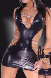 Sexy Black Leather Mini Dress Chain Clubwear Lingerie