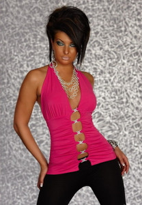 Sexy Neon Pink Cut Out Ruched Halter Top