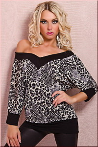 SEXY LEOPARD V Neck Tunic Shirt Top Batwing Sleeve