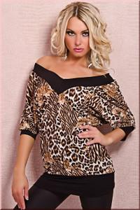 SEXY LEOPARD  V Neck Tunic Shirt Top Dress