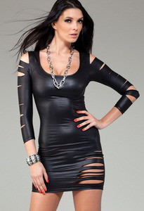 Sexy Black Ripped Laser Cut Out Slashed Wet Look Club Party Mini Dress