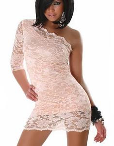 SEXY One Shoulder Pink Lace Mini Dress Party Dancer Clubwear