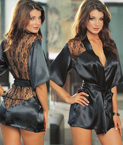 Sexy Black Robe Lace Detail and G-String Night Gown