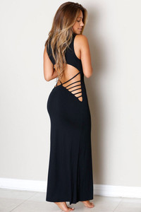 Black Hollowed Back Maxi Jersey Dress