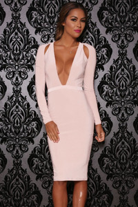 Pink Shoulder Cutout Long-Sleeve Jersey Dress