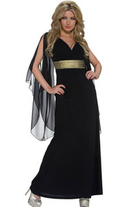 Black Long Chiffon Sleeves Maxi Jersey Dress