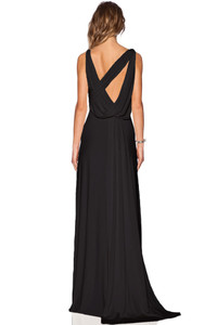 Black Draped Cowl Back Gown Sleeveless Jersey Maxi
