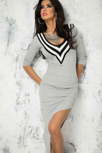 Grey Asymmetric Hemline Sleeved Jersey Dress