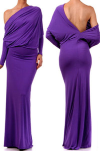 Purple Convertible Multiway Jersey Maxi Dress