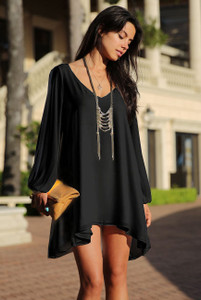Black Chiffon Leisure Mini Skater Jersey Dress