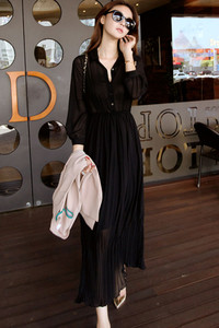 Black Button Down Sheer Chiffon Jersey Maxi Dress