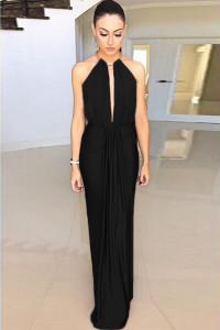 Black Silky Jewel Halter Jersey Evening Dress