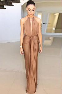 Camel Silky Jewel Halter Jersey Evening Dress