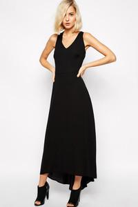 Black Multi Cross Back High-Low Jersey Maxi Dress