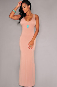 Pink Cage Back Sleeveless Jersey Maxi Dress