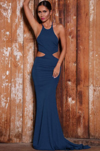 Blue Bold Cut Lace-up Back Floor-length Jersey Dress