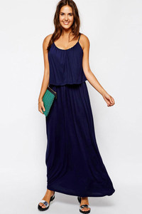 Double Layer Cami Jersey Maxi Dress