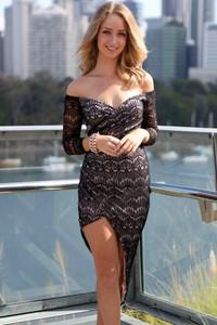 Black Lace Asymmetrical Wrap Jersey Maxi Dress