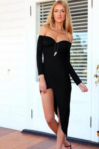 Black Asymmetrical Pleated Jersey Maxi Dress
