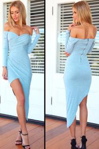 Blue Asymmetrical Pleated Jersey Maxi Dress