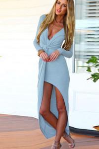Blue Twist Asymmetrical Draped Jersey Maxi Dress