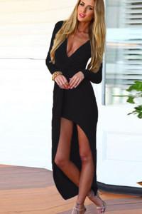 Black Twist Asymmetrical Draped Maxi Dress