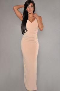 Pink Cut-Out Back Jersey Maxi Dress