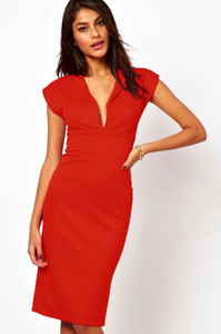 Red Deep V Jersey Midi Dress