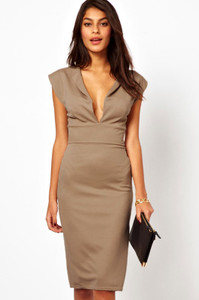 Khaki Deep V Jersey Midi Dress