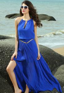 Blue Chiffon Maxi Dress With Gold Chain